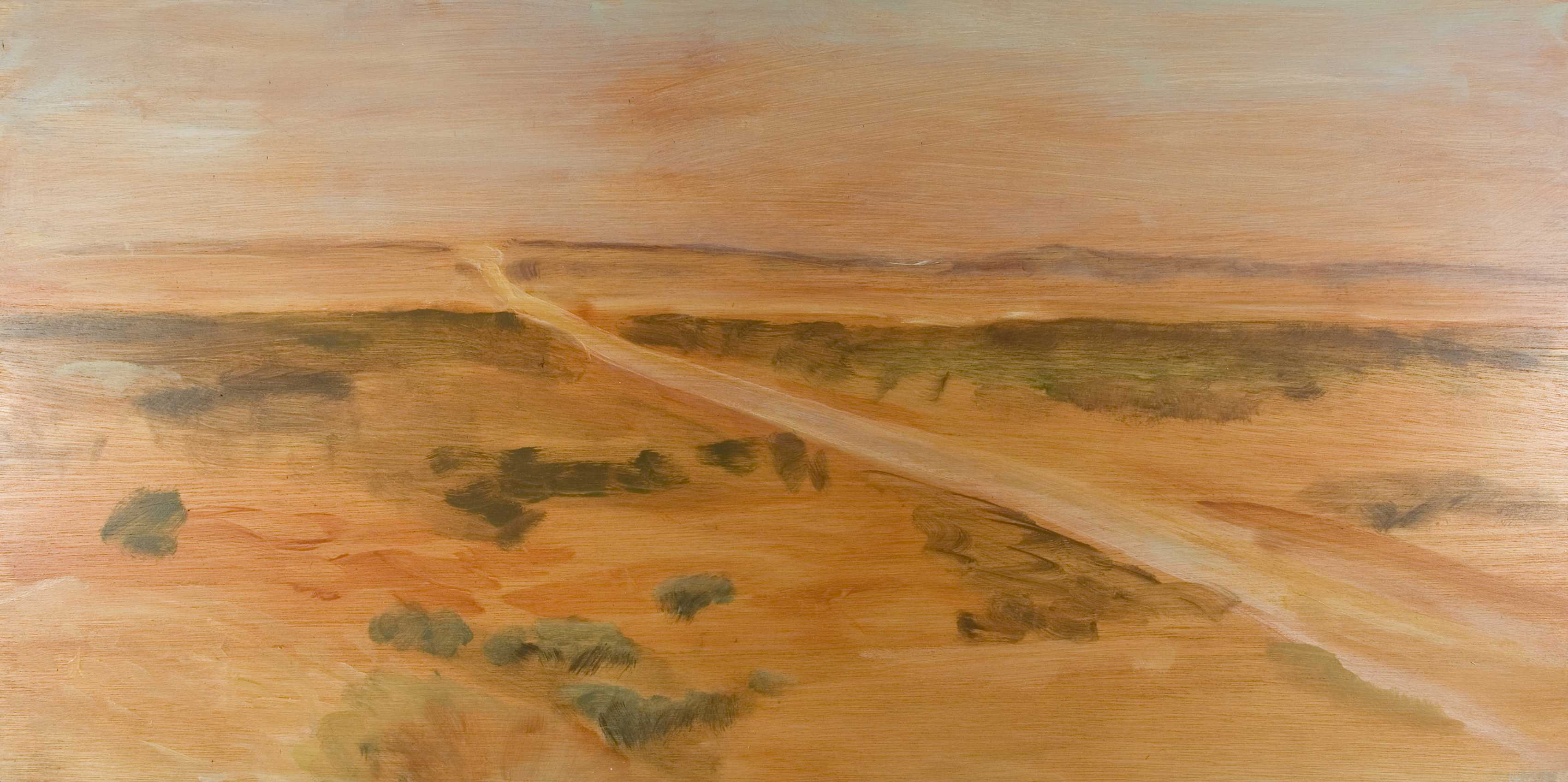 Desert Rd Dusk 07, Oil on board, 60 x 120cm