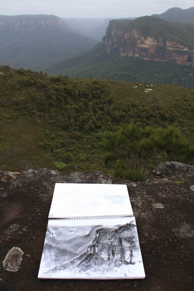 Charcoal drawing Mt Hay JAn 2012